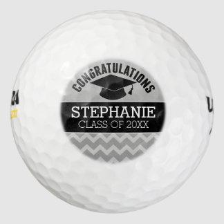 Congratulations Graduate - Silver Black Graduation Pack Of Golf Balls