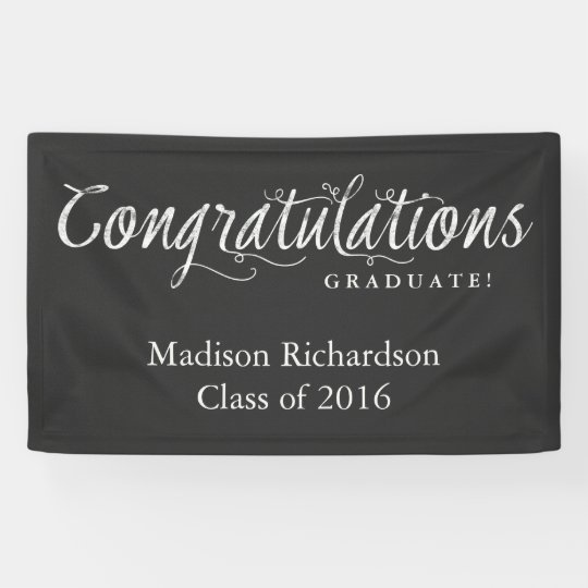 Congratulations Graduate Trendy Chalkboard Style Banner ...