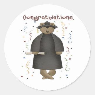 Congratulations Graduation Bear Classic Round Sticker