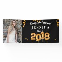 Congratulations Graduation Black/Gold Photo Banner
