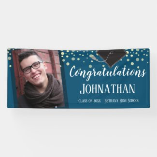 Congratulations Graduation Blue Confetti Photo Banner