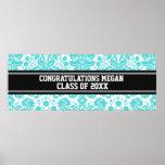 Congratulations Graduation Custom Name Banner Aqua Poster