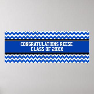 Congratulations Graduation Custom Name Banner Blue Poster