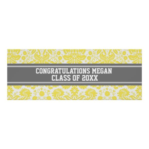 Congratulations Graduation Custom Name Banner Grey Poster