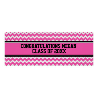 Congratulations Graduation Custom Name Banner Pink Poster