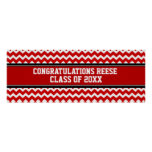 Congratulations Graduation Custom Name Banner Red Poster