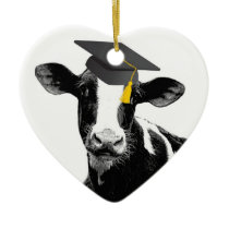 Congratulations Graduation Funny Cow in Cap Ceramic Ornament