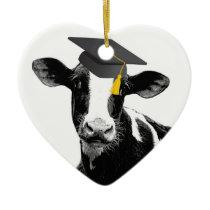 Congratulations Graduation Funny Cow in Cap Ceramic Ornament