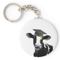 Congratulations Graduation Funny Cow in Cap Keychain