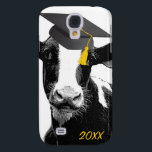 "Congratulations Graduation Funny Cow in Cap Samsung Galaxy S4 Case<br><div class=""desc"">CowGRADulations to this year&#39;s graduate students! Cute black and white dairy cow wearing a cap and tassel for graduating. This is perfect for farm families or anyone who has completed and graduated from an agricultural focused program. It could also be used for promotions in milking parlours or dairy farms. Customize...</div>"