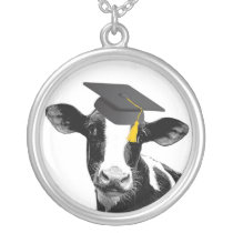 Congratulations Graduation Funny Cow in Cap Silver Plated Necklace