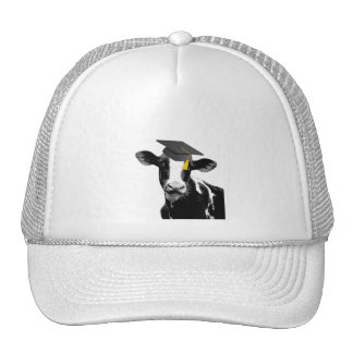 Congratulations Graduation Funny Cow in Cap Trucker Hat