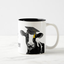 Congratulations Graduation Funny Cow in Cap Two-Tone Coffee Mug