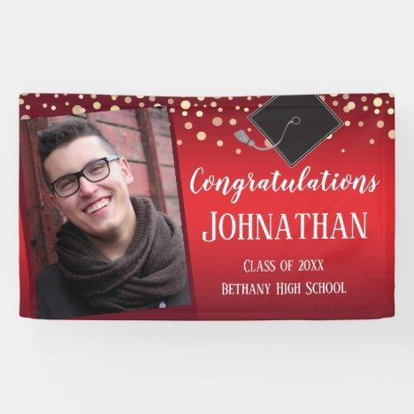 Congratulations Graduation Red with Confetti Photo Banner