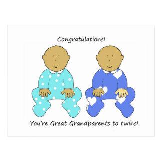 Congratulations Great Grandparents to twins. Postcard