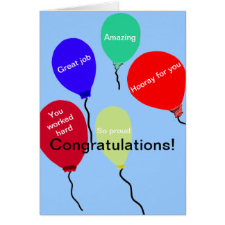 Congratulations Great Job Colorful Balloons Card