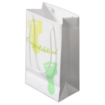 Congratulations Green and Yello Footprints Pattern Small Gift Bag