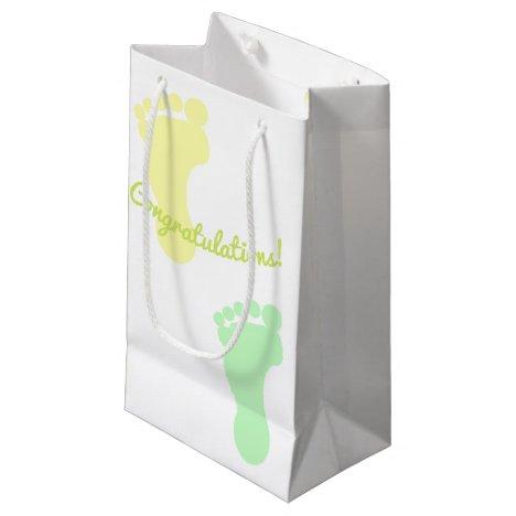 Congratulations Green and Yello Footprints Pattern Small Gift Bag