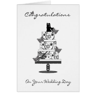 Congratulations Greeting Card With Wedding Cake at Zazzle