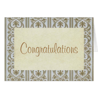 Congratulations Gretting Card w. Gold Hearts