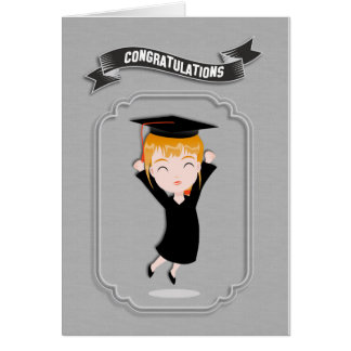 Congratulations, Happy Girl Graduate Greeting Card