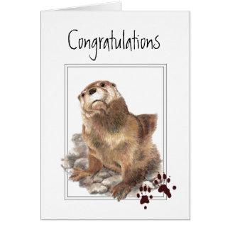Congratulations I am Proud, Cute Otter Animal Greeting Card