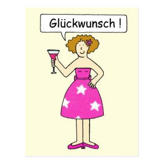 Congratulations in German. Postcard
