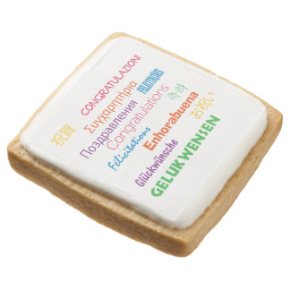 Congratulations in Many Languages Square Shortbread Cookie