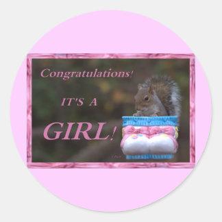 Congratulations… It's A Girl! Classic Round Sticker
