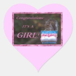 Congratulations… It's A Girl! Heart Sticker