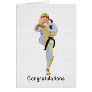Congratulations, Karate Kicking Black Belt Card