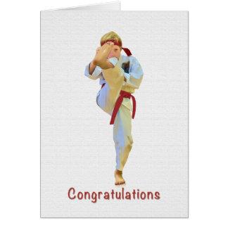 Congratulations, Karate Kicking Red Belt Card