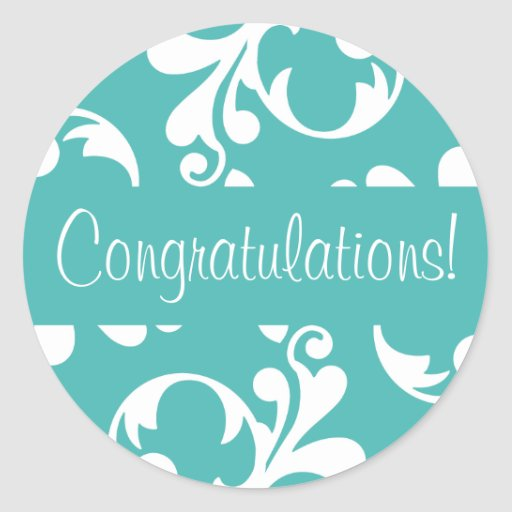 Congratulations Leaf Flourish Envelope Seal Classic Round Sticker