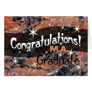 Congratulations M.A. Graduate Orange and Black Card