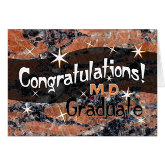 Congratulations M.D. Graduate Orange and Black Card