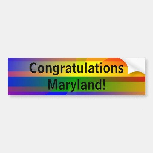 """Congratulations Maryland!"" Bumper Sticker"