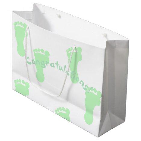 Congratulations Mint Green Footprint Patterned Large Gift Bag