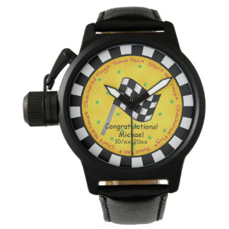 Congratulations Name Personalize Checkered Flag Watches
