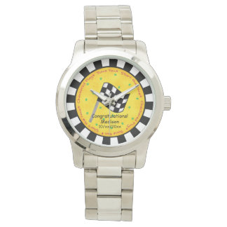 Congratulations Name Personalize Checkered Flag Wristwatch