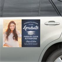Congratulations Navy Blue White Photo Graduation Car Magnet