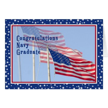 USA Themed Congratulations Navy Graduate Card with Flags