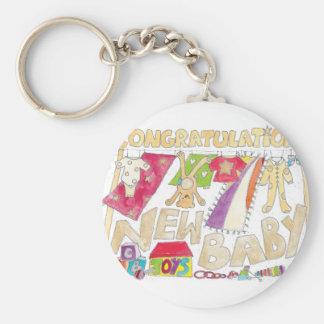 Congratulations - New Baby. Basic Round Button Keychain
