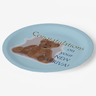 Congratulations New Baby (blue) Paper Plate