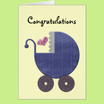 Congratulations New Baby Boy with Blue Pram Art Card