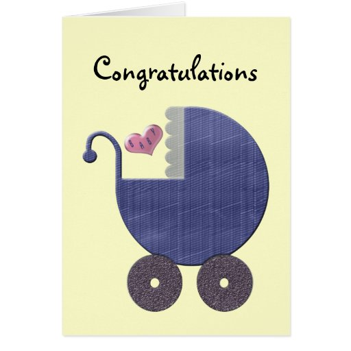 Congratulations New Baby Boy with Blue Pram Art Greeting Cards