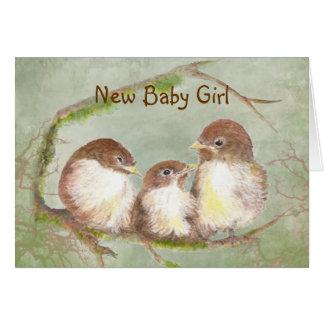 Congratulations New Baby Girl Cute Bird Family Card