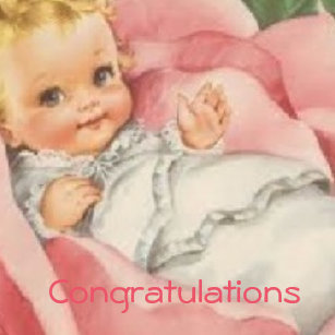 congratulations new baby girl pink vintage magnet