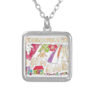 Congratulations - New Baby. Square Pendant Necklace