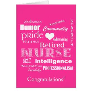 Congratulations Nurse Retirement!-Vibrant Pink Greeting Card