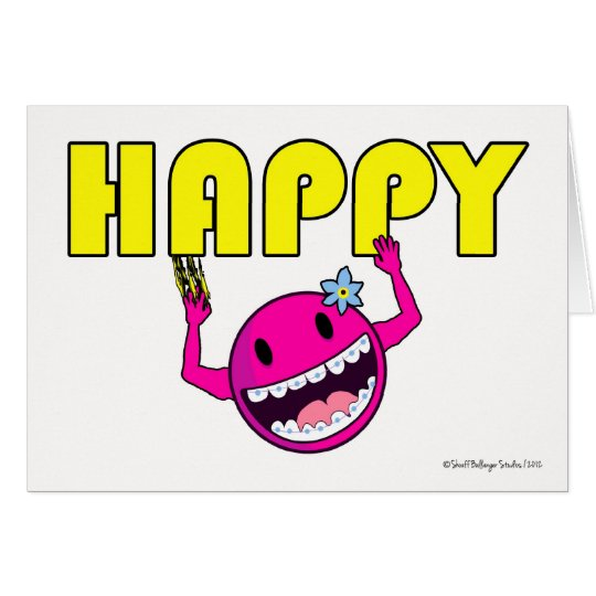 Congratulations on Braces for Girl, Stuck on Happy Card